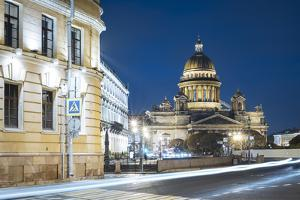 Voznesensky Avenue and exterior of St. Isaac's Cathedral at night, St. Petersburg, Russia by Ben Pipe
