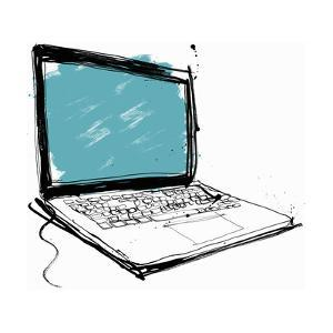 Close Up Drawing of Laptop with Blank Screen by Ben Tallon