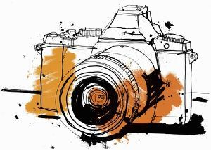 Close Up Drawing of Slr Camera by Ben Tallon