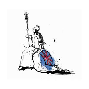 Drawing of Britannia with Trident and Union Jack Shield by Ben Tallon