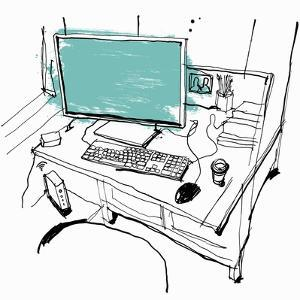 Drawing of Desk Workspace with Computer and Take Away Coffee by Ben Tallon