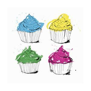 Four Brightly Colored Cupcakes by Ben Tallon