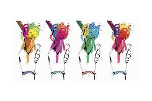 Row of Hands Holding Multicolored Ice Creams by Ben Tallon