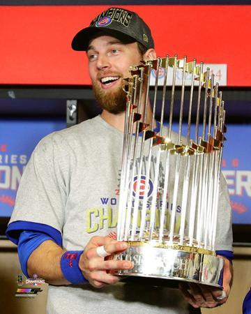 Ben Zobrist with the World Series Championship Trophy Game 7 of the 2016 World Series