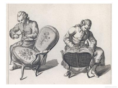 Two French Craftsmen Work on the Elaborate Upholstery on a Pair of Louis XV Style Fauteuils