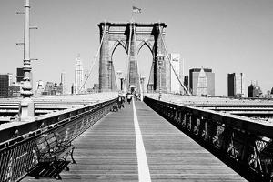 Bench on a bridge, Brooklyn Bridge, Manhattan, New York City, New York State, USA