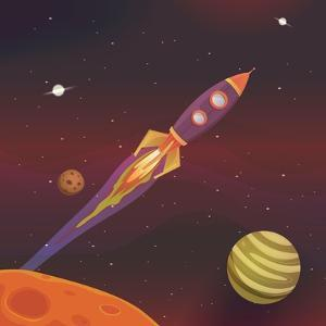 Cartoon Spaceship Flying into Galaxy by Benchart