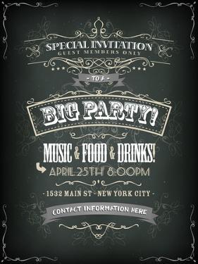 Retro Party Invitation on Chalkboard by Benchart
