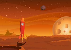 Spaceship-On-Martian-Landscape by Benchart