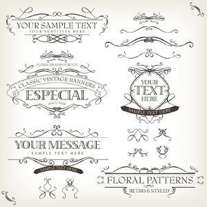 Vintage Old Labels Banners and Frame by Benchart