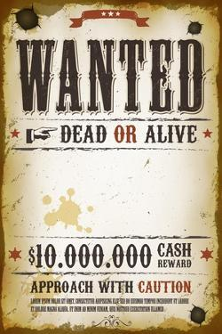 Wanted Vintage Western Poster by Benchart