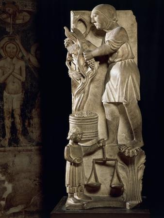 Sculpture Representing Month of September by Benedetto Antelami