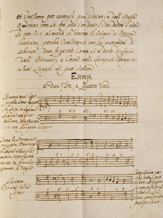 Examples of Polyphonic Music, from the Treatise on Harmonic Consonances, 1717