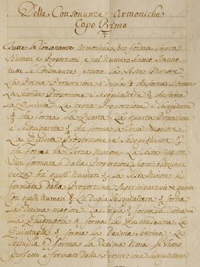 First Chapter of the Manuscript Treatise on Harmonic Consonances, 1717 by Benedetto Marcello