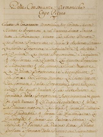 First Chapter of the Manuscript Treatise on Harmonic Consonances, 1717