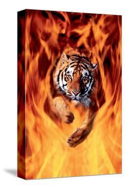 Bengal Tiger Jumping in Flames