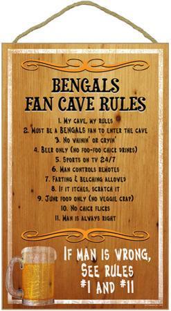Bengals Fan Cave Rules Wood Sign