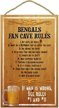 Bengals Fan Cave Rules Wood Sign