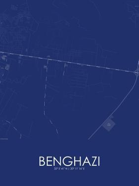 Benghazi, Libya Blue Map