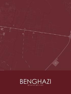 Benghazi, Libya Red Map