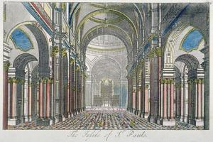 Interior of St Paul's Cathedral, Looking East from the Nave Towards the Choir, City of London, 1750 by Benjamin Cole