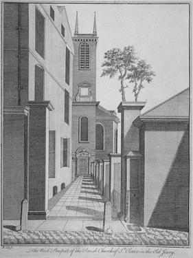 West Prospect of the Church of St Olave Jewry from Ironmonger Lane, City of London, 1750 by Benjamin Cole