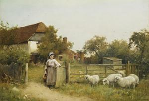 Young Girl with Sheep, by a Cottage by Benjamin D. Sigmund