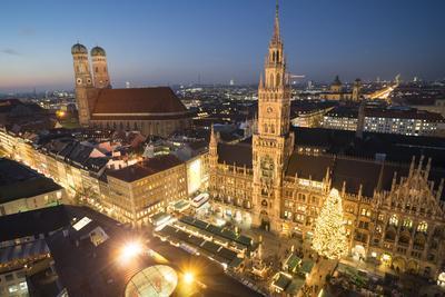 Christmas Fair, Marienplatz from Above, Munich, Bavaria, Germany