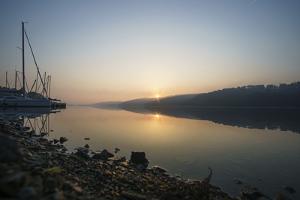 Germany, North Rhine-Westphalia, Sunrise over Sorpe Dam by Benjamin Engler