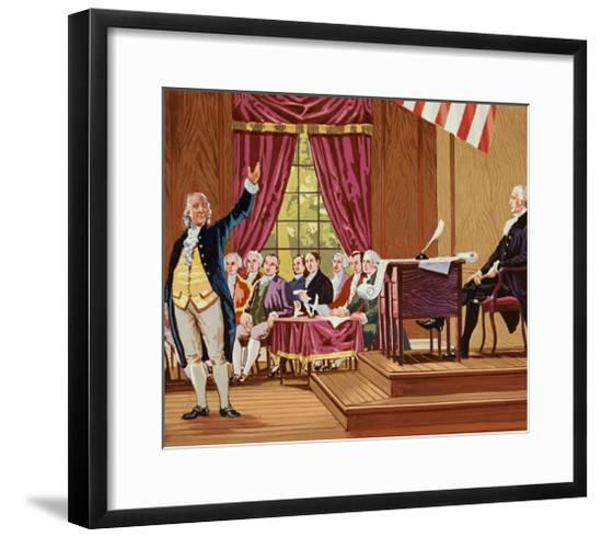 Benjamin Franklin Gesturing and Speaking in Constitutional Convention--Framed Giclee Print