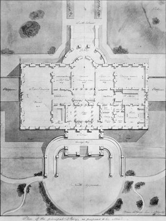 Plan of the Principal Story of the White House from 1807
