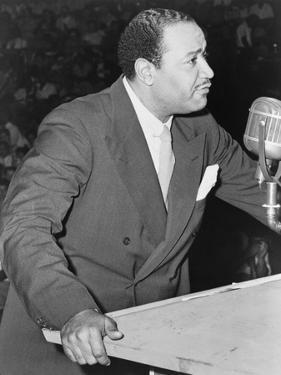 Benjamin J Davis Speaking at the Negro Freedom Rally, Madison Square Garden, New York City