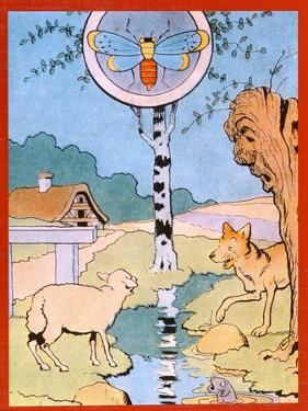 Illustration for the Wolf and the Lamb, from 'Fables' by Benjamin Rabier
