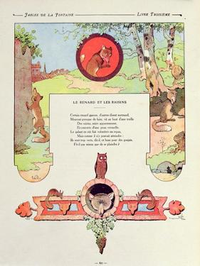 The Fox and the Grapes, Illustration from 'Fables' by Jean De La Fontaine, 1906 Edition by Benjamin Rabier