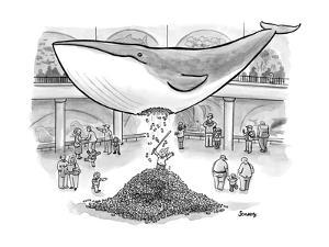 A boy hits the giant whale in the Museum of Natural History like a pinata. - New Yorker Cartoon by Benjamin Schwartz