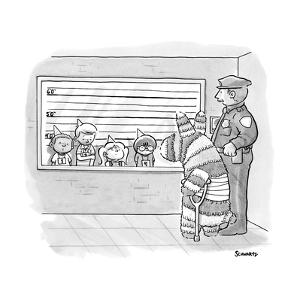 A donkey-like pi?ata with bandages and a crutch stands with a policeman in? - New Yorker Cartoon by Benjamin Schwartz