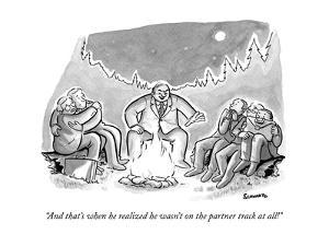"""""""And that's when he realized he wasn't on the partner track at all!"""" - New Yorker Cartoon by Benjamin Schwartz"""