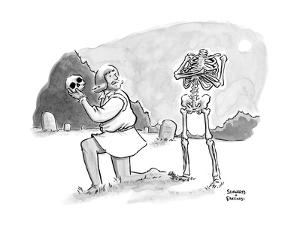 Hamlet is confronted by the skeleton whose skull he is holding. - New Yorker Cartoon by Benjamin Schwartz