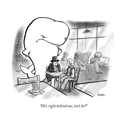 """He's right behind me, isn't he?"" - New Yorker Cartoon"