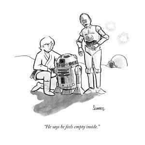"""He says he feels empty inside."" - New Yorker Cartoon by Benjamin Schwartz"