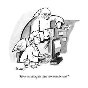 """How we doing on those commandments?"" - New Yorker Cartoon by Benjamin Schwartz"