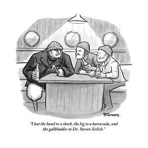 """""""I lost the hand to a shark, the leg to a barracuda, and the gallbladder t?"""" - New Yorker Cartoon by Benjamin Schwartz"""