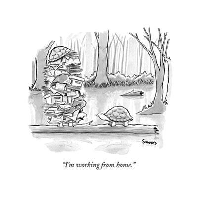 """I'm working from home."" - New Yorker Cartoon by Benjamin Schwartz"