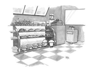In a bakery, a muffin outside the glass display speaks through a  connect… - New Yorker Cartoon by Benjamin Schwartz