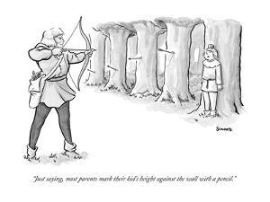 """""""Just saying, most parents mark their kid's height against the wall with a?"""" - New Yorker Cartoon by Benjamin Schwartz"""