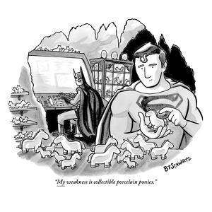 """""""My weakness is collectible porcelain ponies."""" - New Yorker Cartoon by Benjamin Schwartz"""