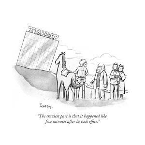 """The craziest part is that it happened like five minutes after he took off…"" - Cartoon by Benjamin Schwartz"
