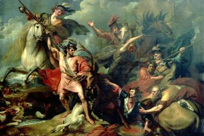 Alexander III of Scotland Rescued from the Fury of a Stag by the Intrepidity of Colin Fitzgerald by Benjamin West