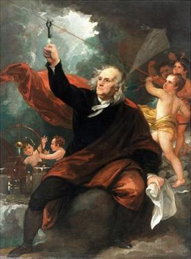 Benjamin Franklin Drawing Electricity from the Sky by Benjamin West