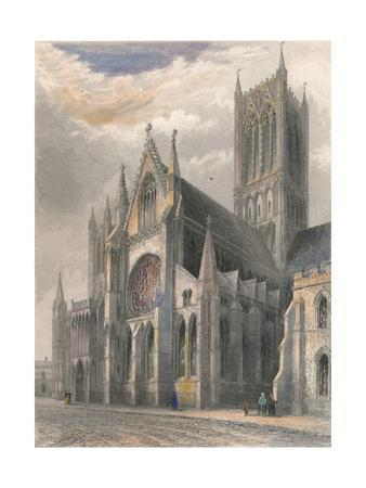 'Lincoln Cathedral - View of South Transept & Central Tower', 1836